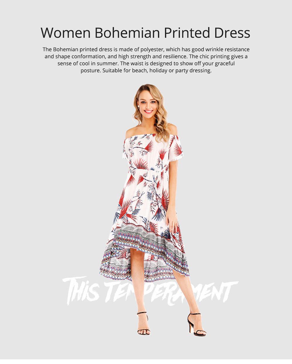 Holiday & Beach Dress for Women, Bohemian Print Dress, Sexy Off Shoulder Long Dress for Women 0