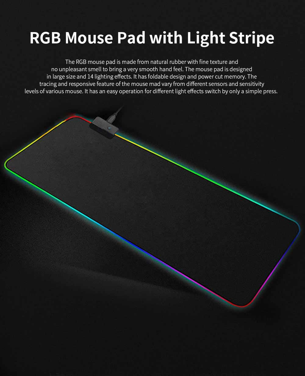 RGB Mouse Pad with Light Stripe Fine Textured and Thickened Skip-free Rubber Reverse Side Mouse Mat Computer Accessory Mousepad 0