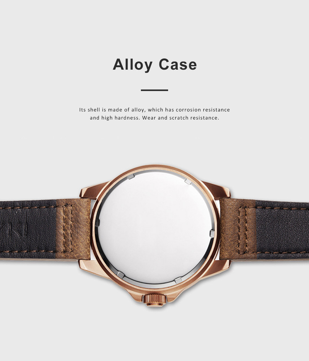Casual Quartz Watch for Men Waterproof Quartz Watch With Stainless Steel Clasp Watch Leather Wrist Strap 5