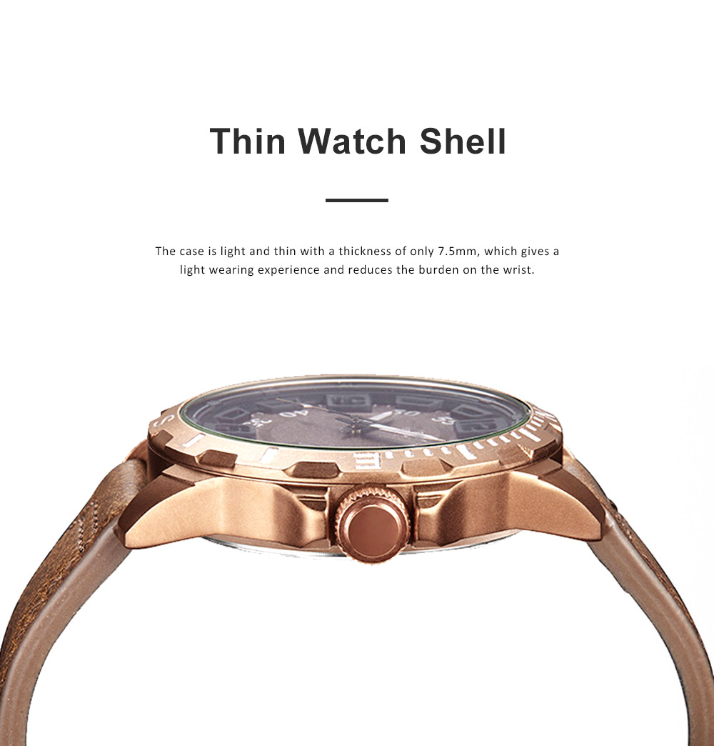 Casual Quartz Watch for Men Waterproof Quartz Watch With Stainless Steel Clasp Watch Leather Wrist Strap 2