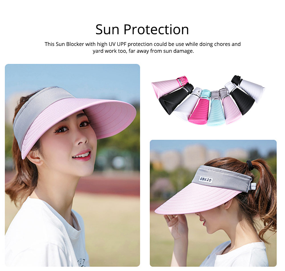 Sun Visor Hats Women Large Brim Summer UV Protection Beach Cap Foldable Driving Hats 1