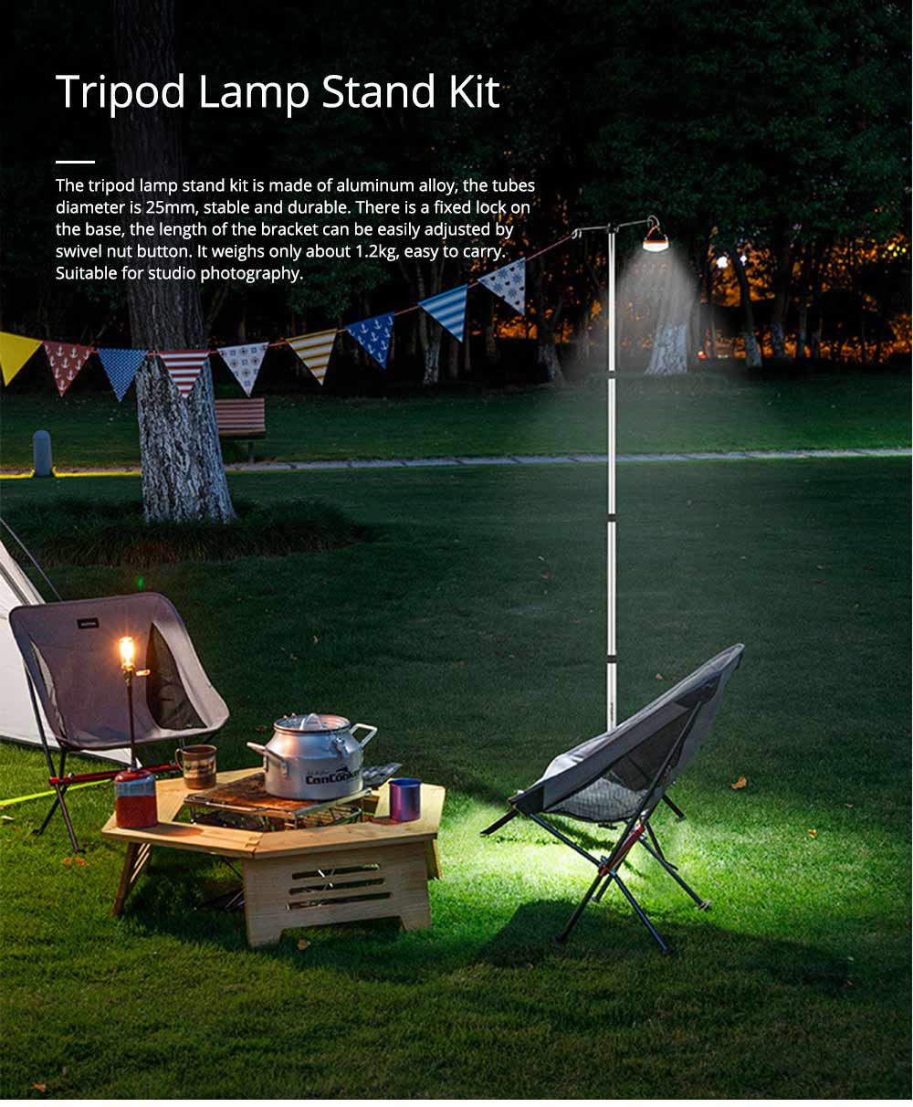Lamp Holder Tripod Stand Kit Aluminum Alloy Retractable Light Stand Adjustable Height 0.75m to 1.9 Meters Lighting Bracket for Outdoor Camping 0
