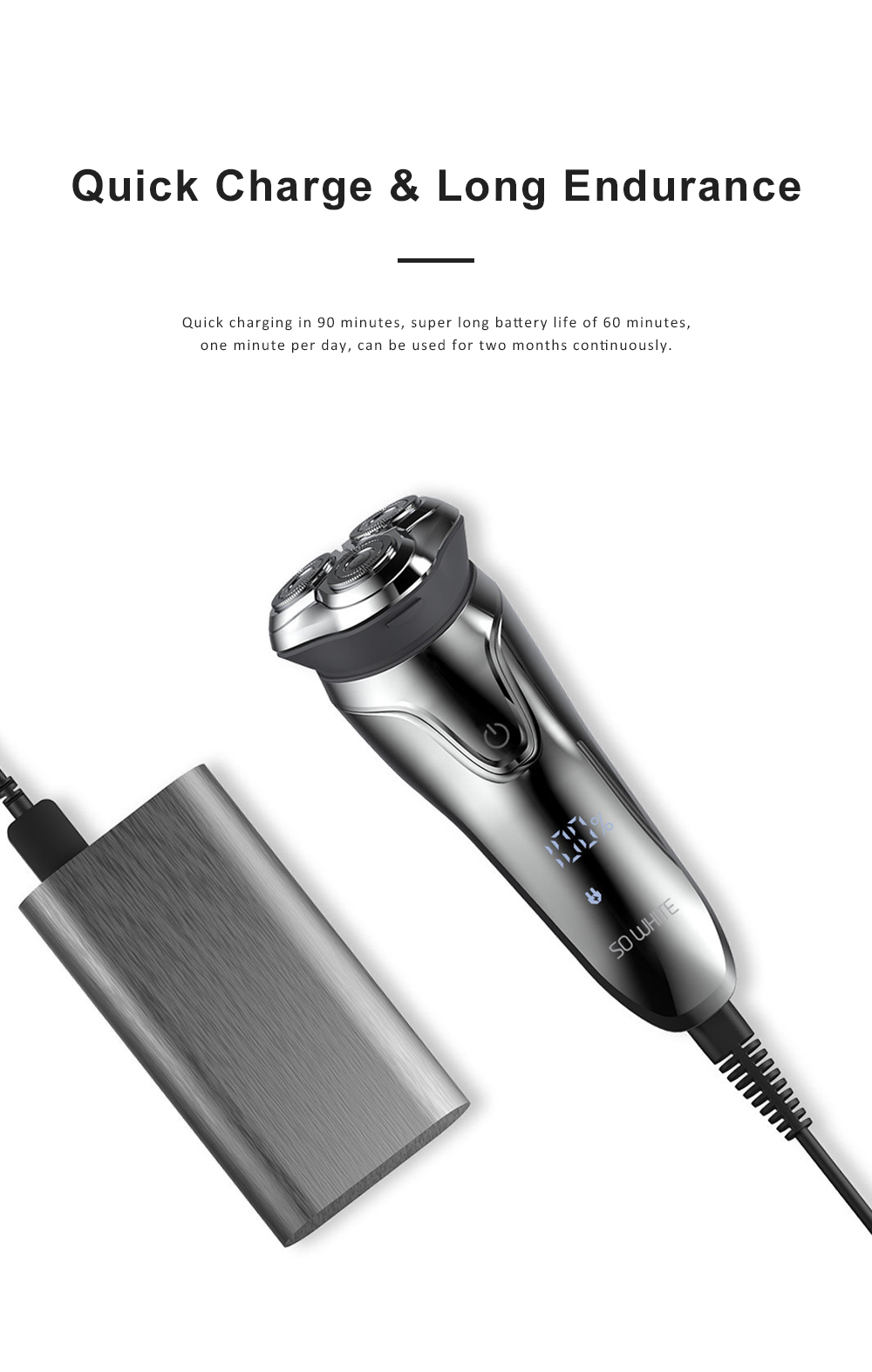 Intelligent Control Shaver Three-blade Reciprocating Electric Razor 3D Floating Razor Rechargeable Electric Shaver 8