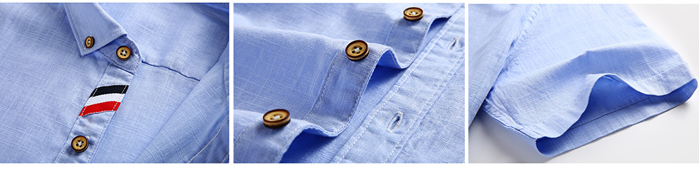 Mens Linen Shirt Short Sleeve Banded Collar Casual Shirts Regular Fit Button Down T-shirts 4
