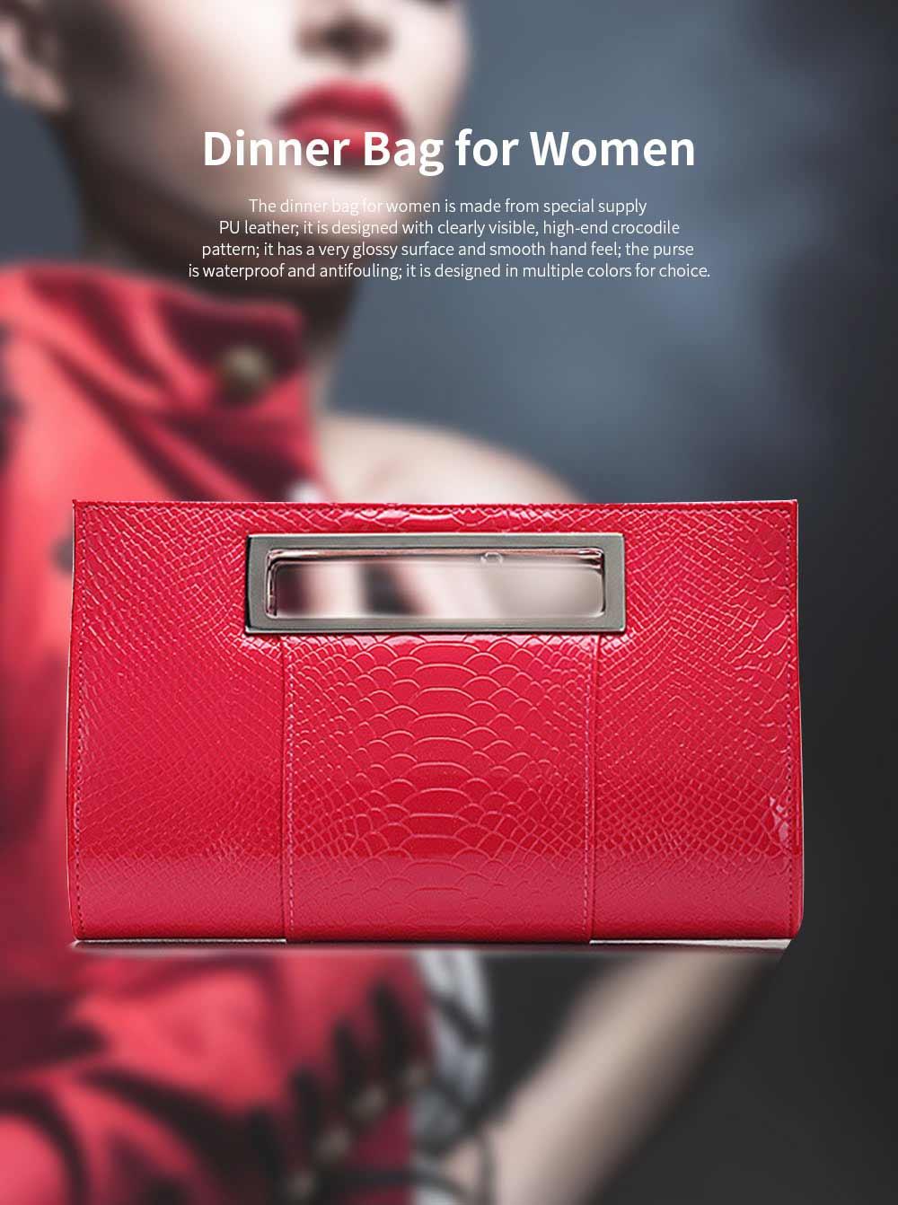 Women Evening Bag Casual PU Leather Dinner Bag with Removable Handle Zipper Pocket Durable Wear Resistant Concealed Pocket Crocodile Pattern Handbag 0