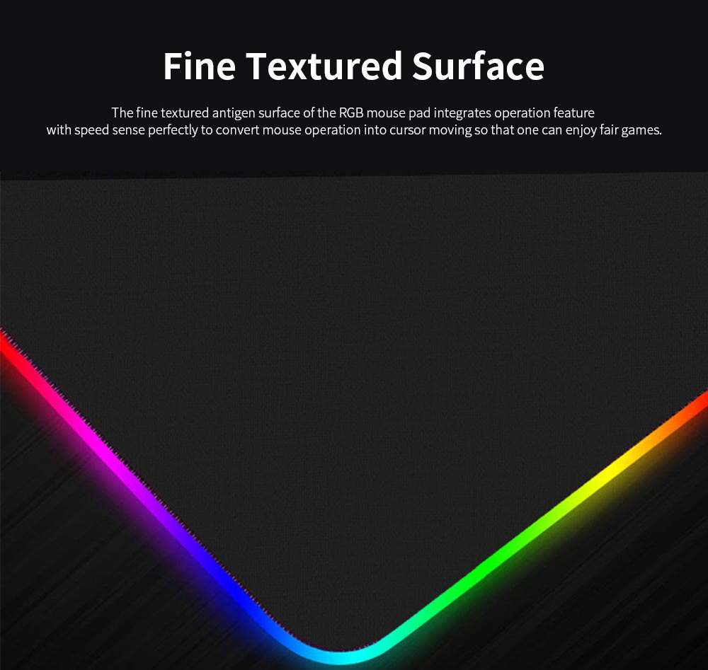RGB Mouse Pad with Light Stripe Fine Textured and Thickened Skip-free Rubber Reverse Side Mouse Mat Computer Accessory Mousepad 1