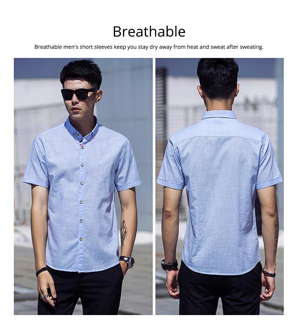 Mens Linen Shirt Short Sleeve Banded Collar Casual Shirts Regular Fit Button Down T-shirts 2