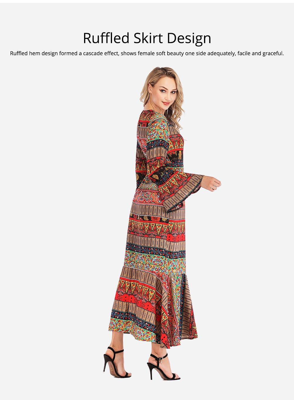 Flared Sleeve Beach Dress for Women, Women V-neck Chiffon Dress Ruffle Hem 2