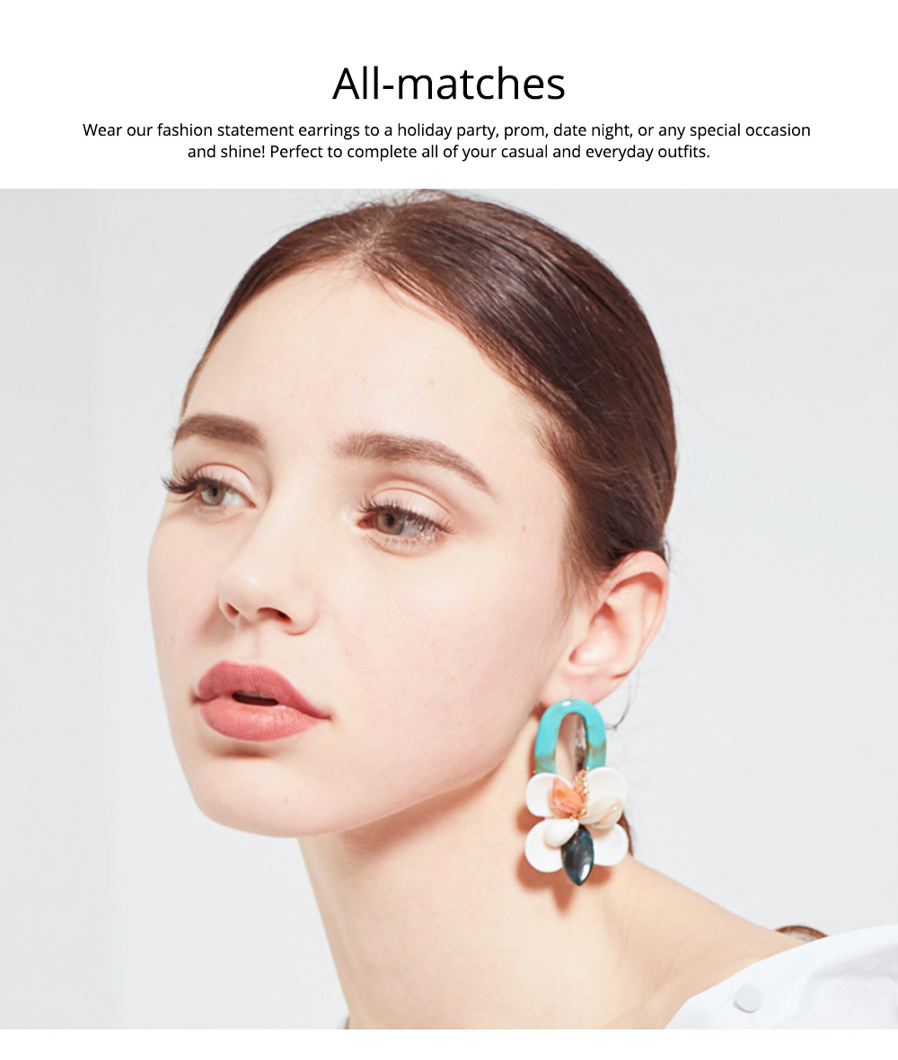 Retro Exaggerated Earrings Shell Coral Multilayer Earrings Acrylic Hoop Pendants Gifts for Women 4
