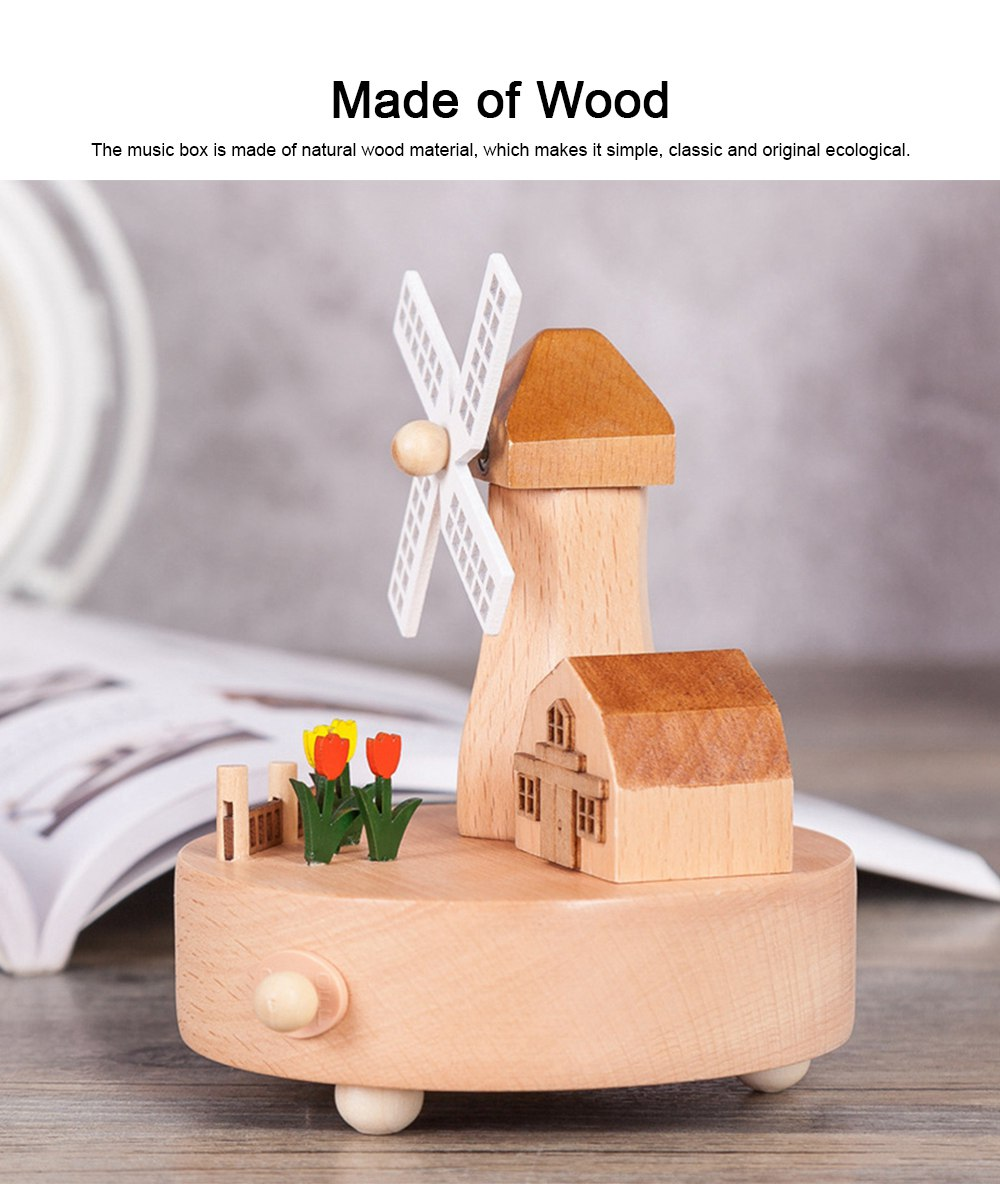 Rotation Wooden Music Box, Romantic Windmill Wood Craft Artware Handmade Decoration Gifts & Presents for Children Kids Friends 2