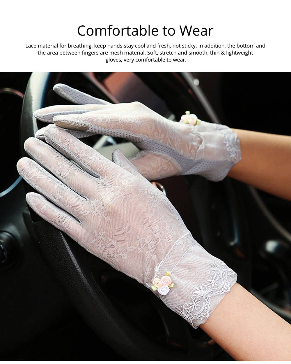 Summer Women Gloves Women's UV Protection Sun Driving Gloves Lace Touch Screen Thin Gloves for Gifts 2