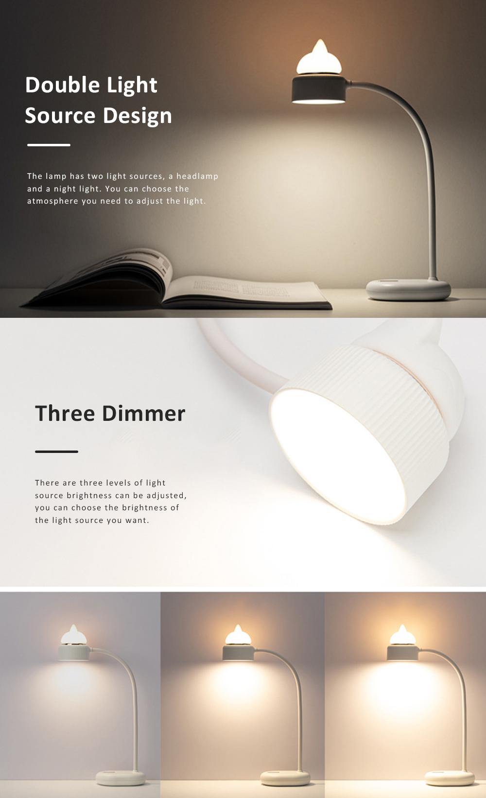 Cute Cat Shape Desktop Lamp USB Charging Bedside Reading Lamp Rechargeable Eye Protected Lamp 2