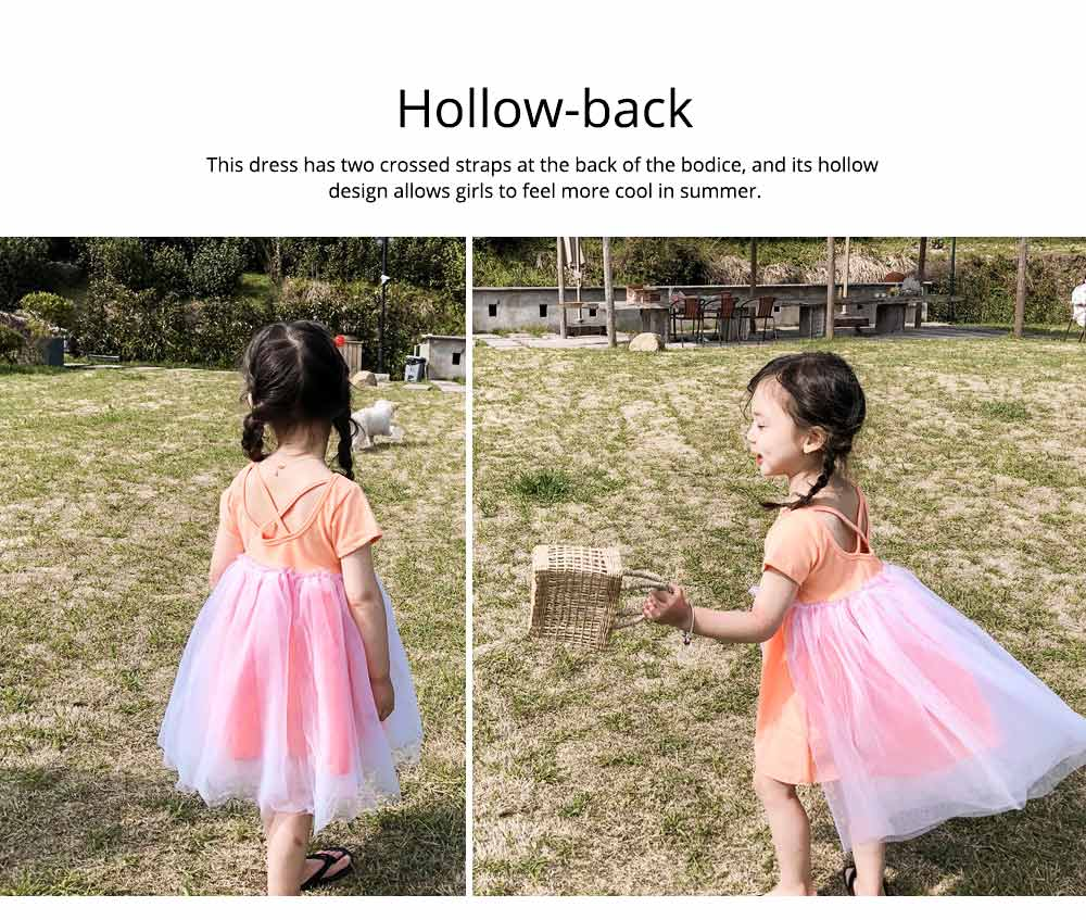 Hollow-back Dress for Girls, Tulle Skirt Patchwork Dress, Short Sleeves Dress for 3- 8 Years Girl 4