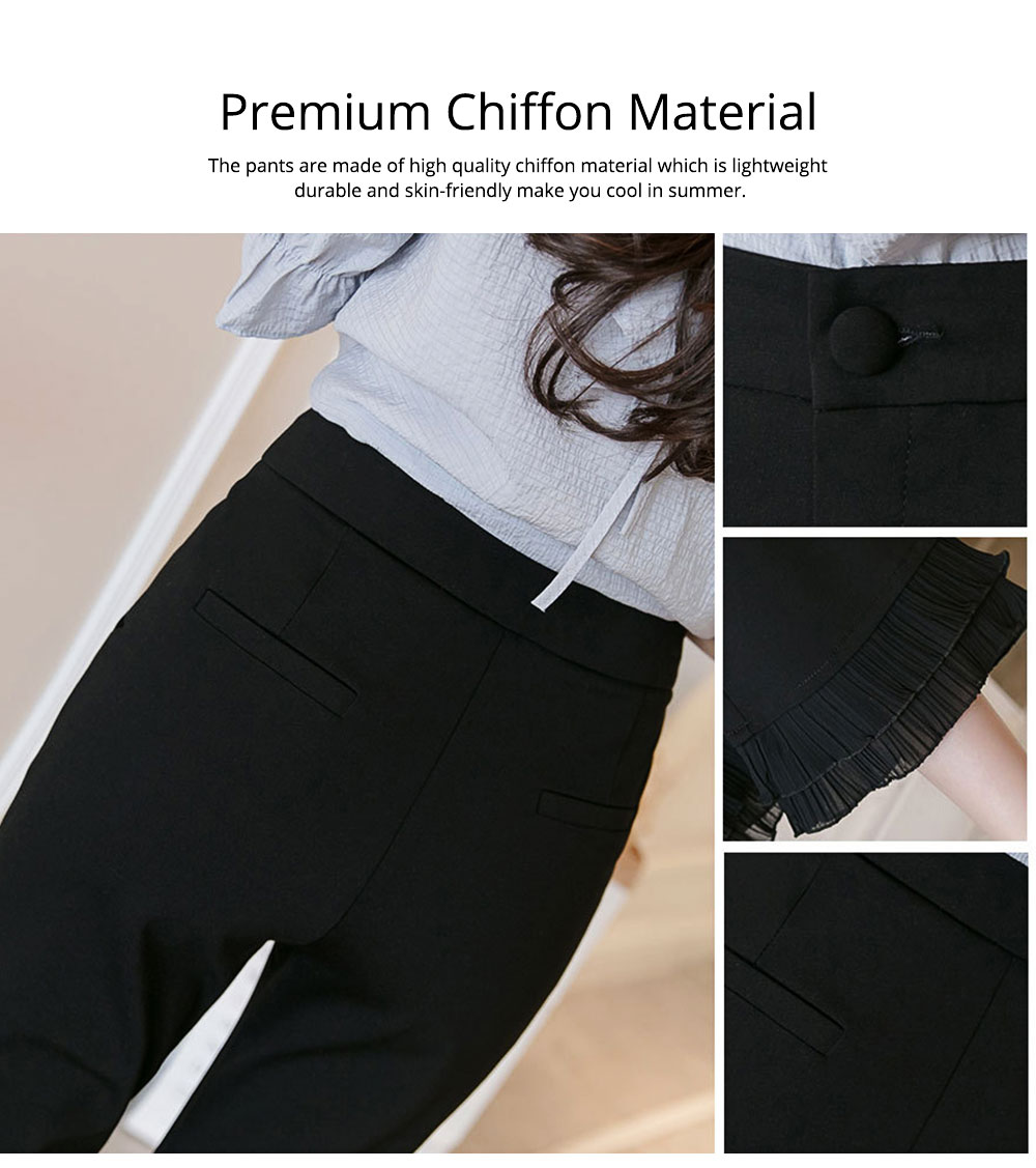 Women Flare Bottoms Mid Waisted Wide Leg Chiffon Palazzo Pants with Pocket Capris Leggings Bell-bottom Trousers 3