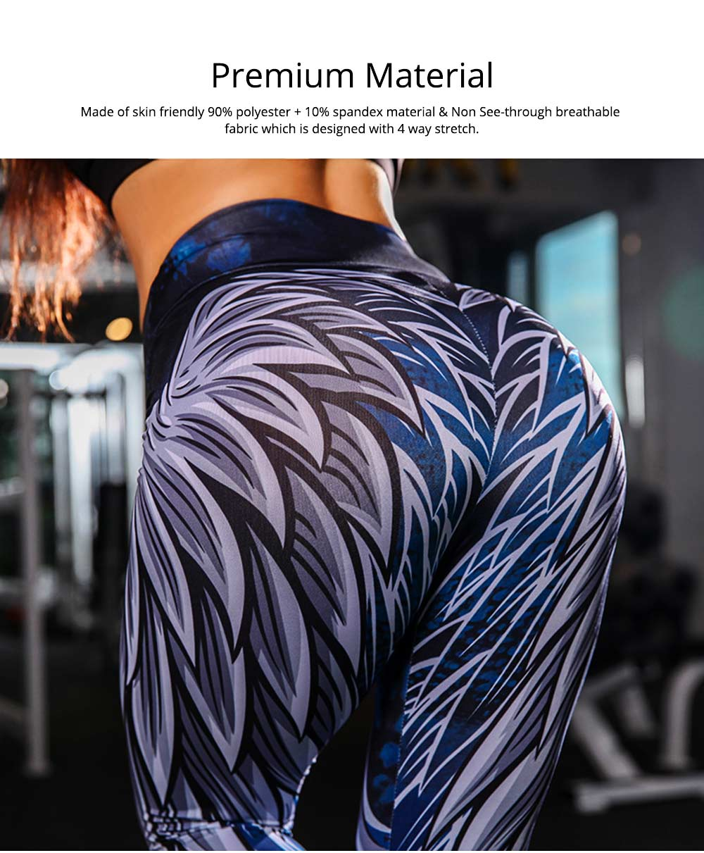 High Waist Yoga Pants Tummy Control Workout Leggings Digital 3D Wing Print Cropped Leggings for Women 3