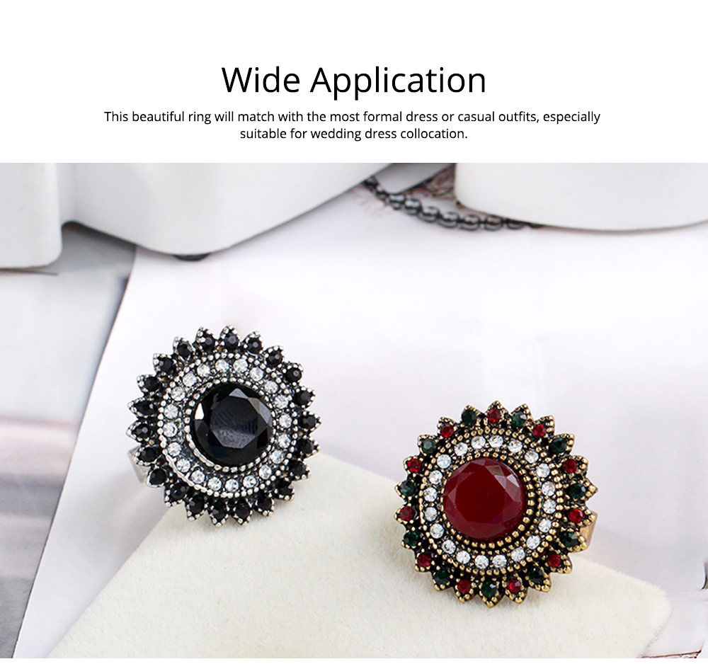 Women's Retro Ring Big Sun Flower Adjustable Aluminum Alloy Rhinestone Rings Women Fashion Accessories Best Gifts for Women 5