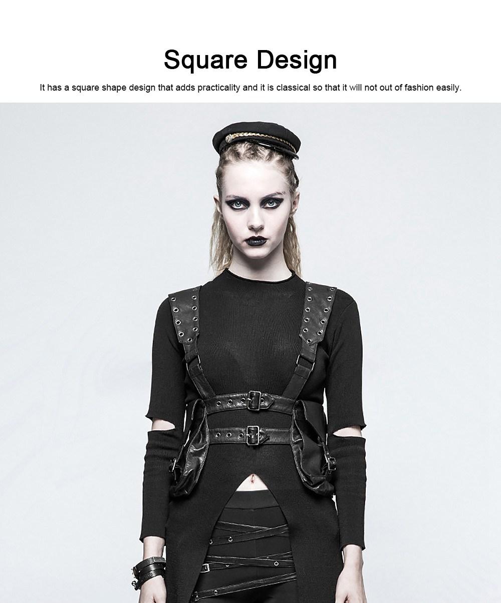 Square Shape Waist Strap Adjustable Belt Backpack, Locomotive Style Bag for Women, PU Leather Waistcoat Halloween Gift 3