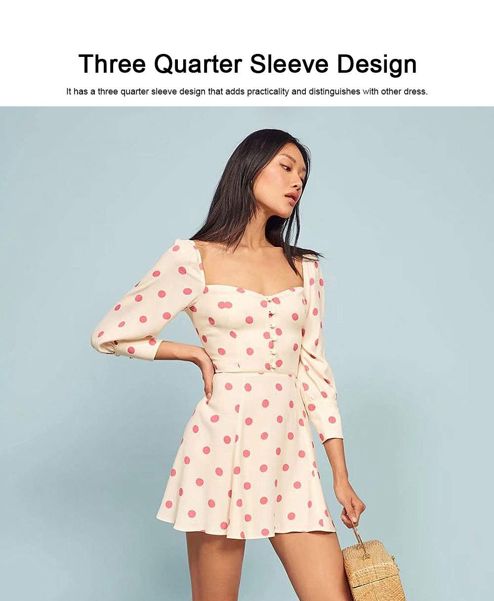 Polka Dot Dress for Women Three Quarter Sleeve Collect Waist Fine Linen Square-cut Collar Short Skirt 2019 4