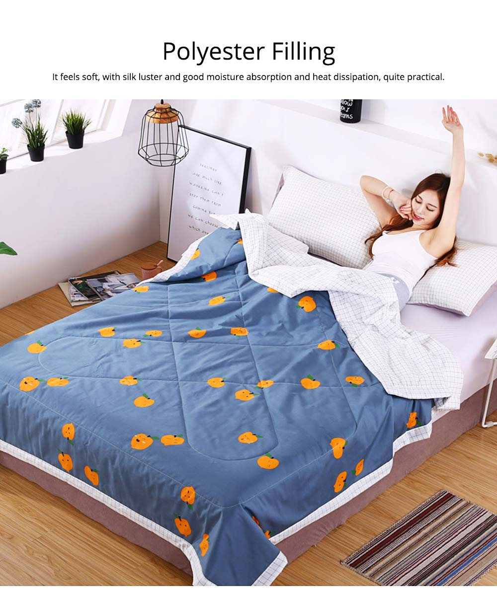 Washable Quilt for Summer Breathable Air Conditioning Quilt, Cotton Printed Quilt for Two Person 2