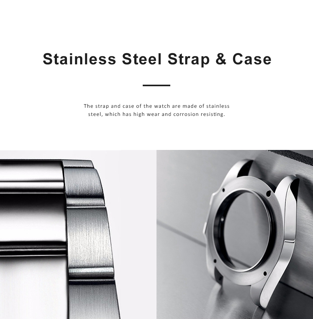 Men's Luminous Watch With 316L High Quality Stainless Steel Strap Crystal Hardness Glass Calendar Quartz Movement 3