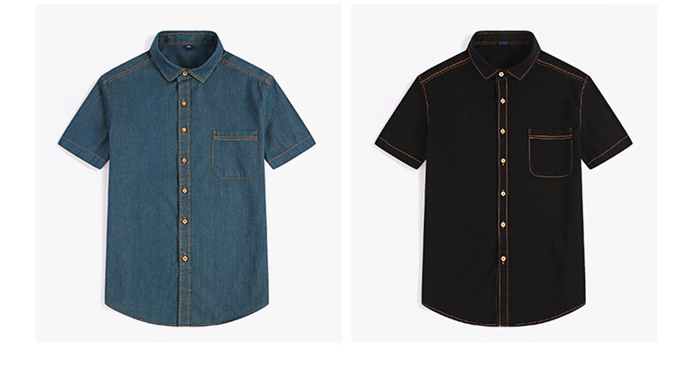Men's Short Sleeve Shirts Casual Button Down Western Vintage Denim Shirt Cotton Loose Shirts 8