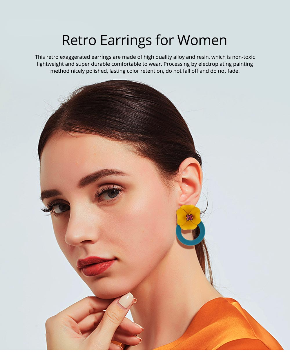 Retro Earrings for Women Flower Ear Jacket Zinc Alloy Stud Round Hoop Statement Earrings Gifts for Women 0