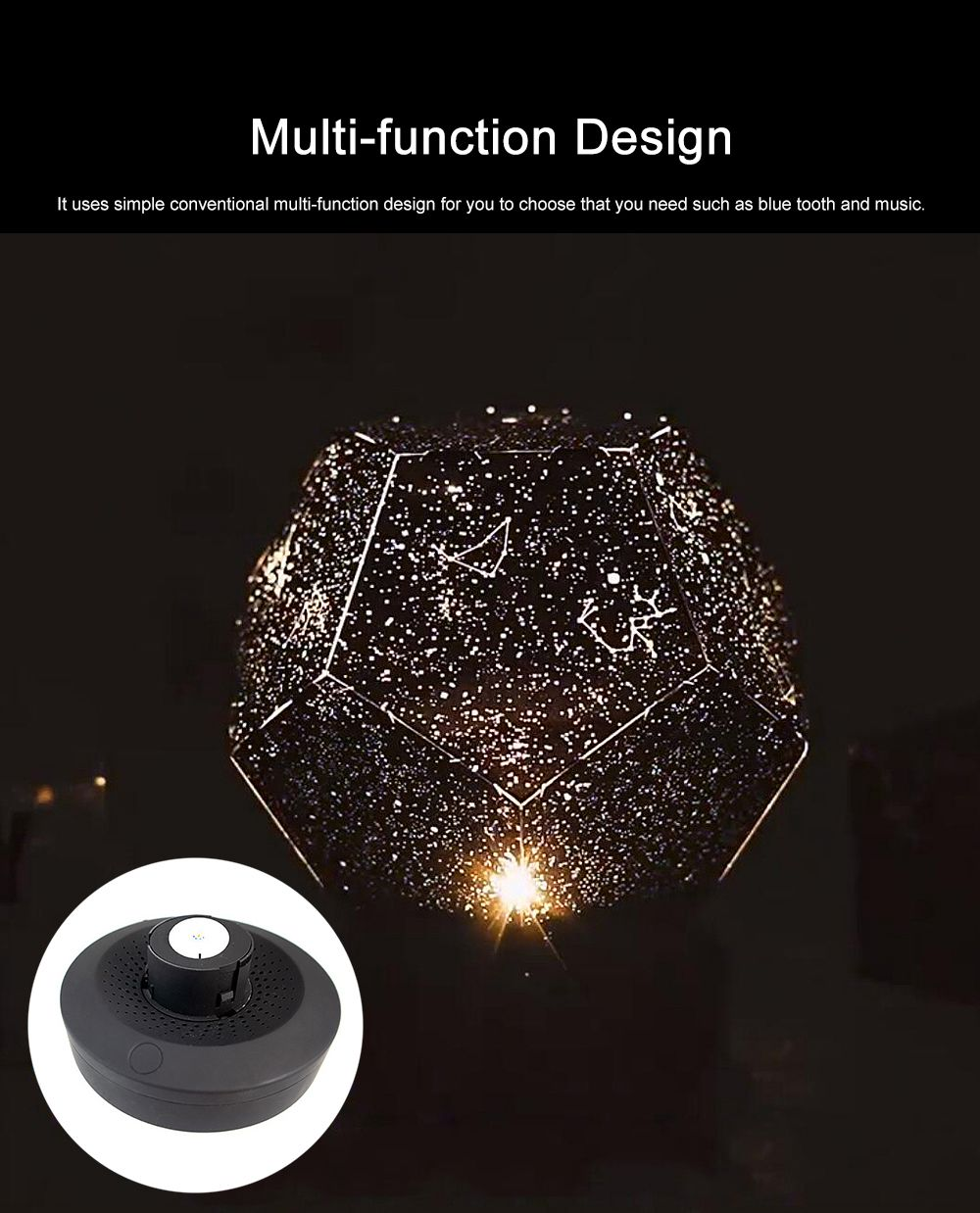 LED Rotation Star Projection Lamp Light Remote Control Design Free Installation Insert Type Lamp Shade Light with Starry Sky Box 3
