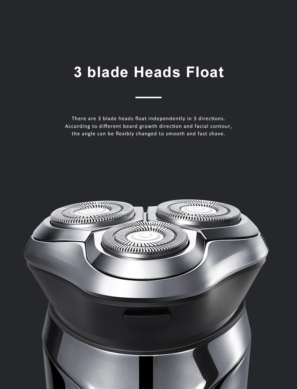 Intelligent Control Shaver Three-blade Reciprocating Electric Razor 3D Floating Razor Rechargeable Electric Shaver 1