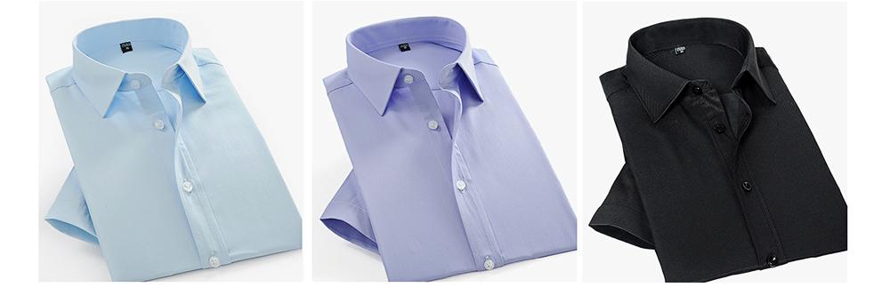 Men's Short Sleeve Shirts with Regular Fit Formal Business Cotton Solid Shirt Classic Slim Fit Flex Collar Dress Shirt 8
