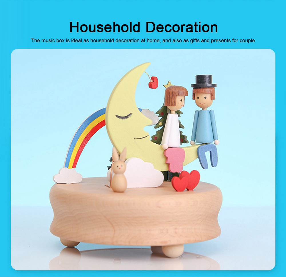 Wooden Music Box, Handware Wood Craft Household Decoration for Valentine Couple Lover Gifts Presents 5