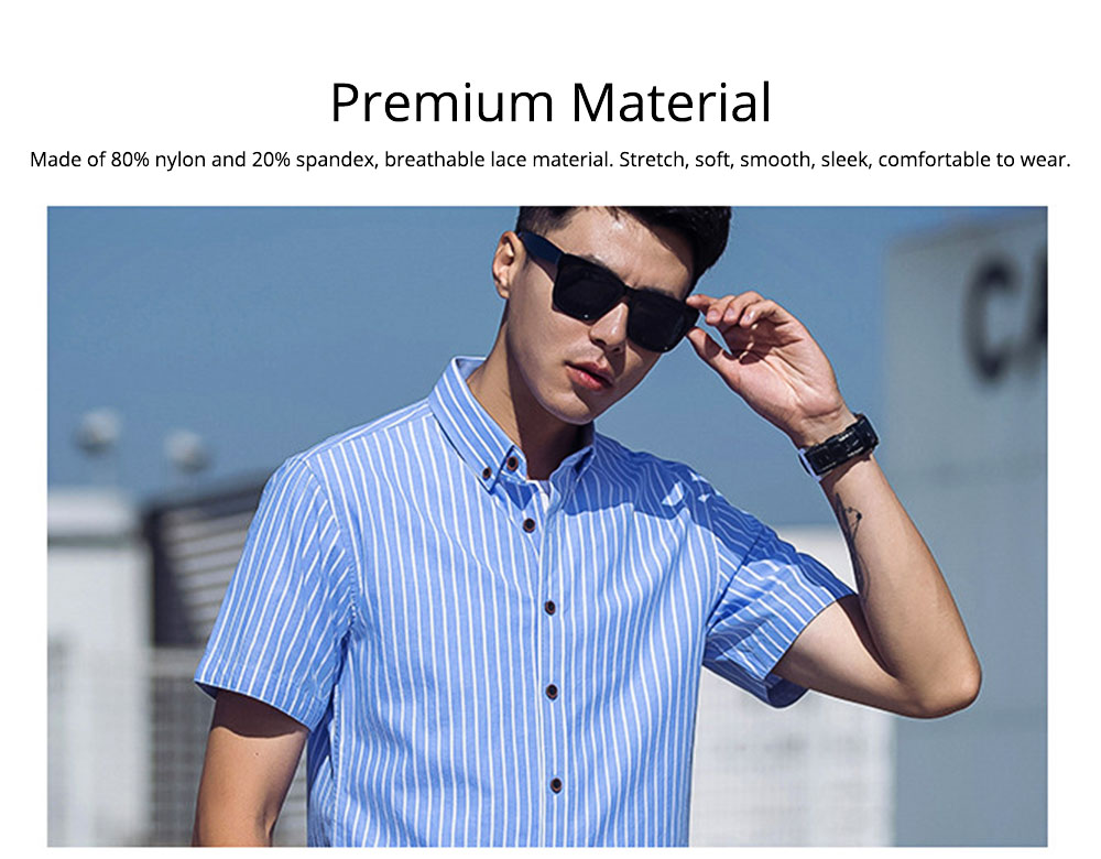 Short-Sleeve Stripe Shirt Men Casual Button Down Cotton Loose Shirts Quick-drying T-shirts Gifts for Men 3