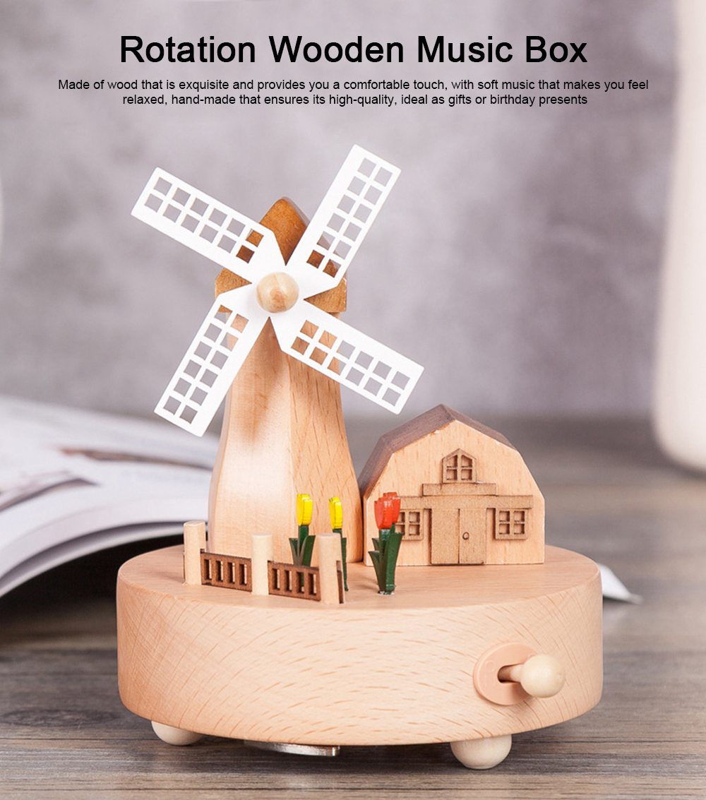 Rotation Wooden Music Box, Romantic Windmill Wood Craft Artware Handmade Decoration Gifts & Presents for Children Kids Friends 0
