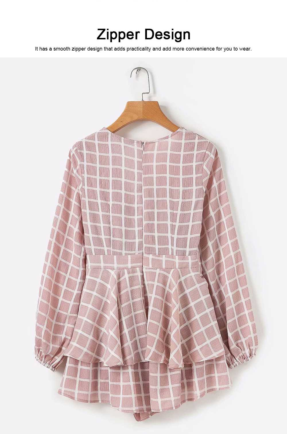 Women's Long Sleeve Plaid Jumpsuit Recreational Shorts for Lady, Cardigan V Collar Zipper Bowknot on the Back Long-sleeve Siamese Trousers 4