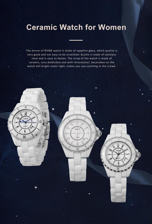 Female Ceramic Watch Women Ladies Fashion Watch with Diamond Waterproof 0