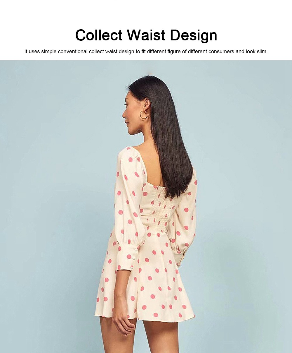 Polka Dot Dress for Women Three Quarter Sleeve Collect Waist Fine Linen Square-cut Collar Short Skirt 2019 5