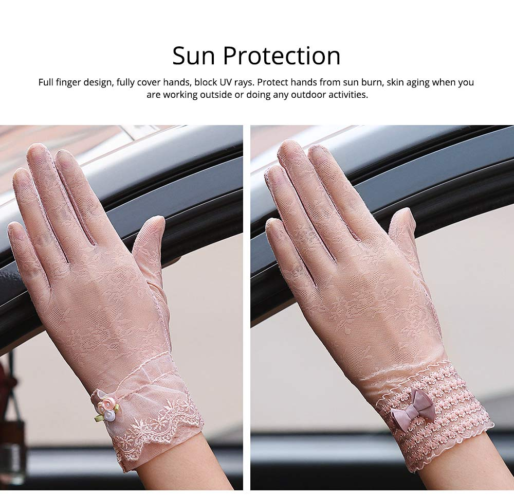Summer Women Gloves Women's UV Protection Sun Driving Gloves Lace Touch Screen Thin Gloves for Gifts 1