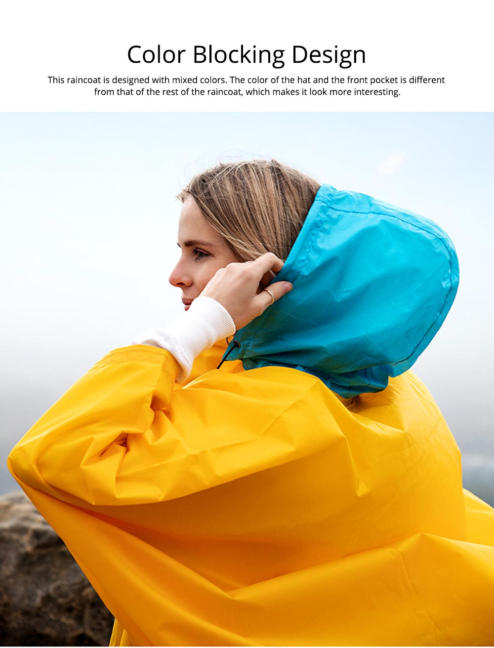 Color Stitching Raincoat for Adults, Portable Hiking Poncho with Hood & Sleeves, Outdoors Ultralight Raincoat 1