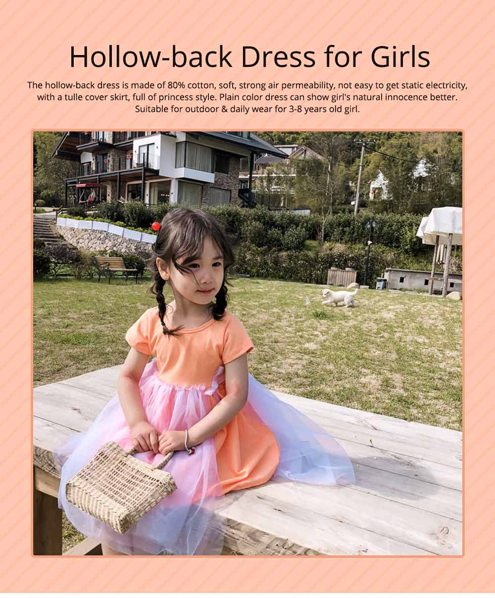 Hollow-back Dress for Girls, Tulle Skirt Patchwork Dress, Short Sleeves Dress for 3- 8 Years Girl 0