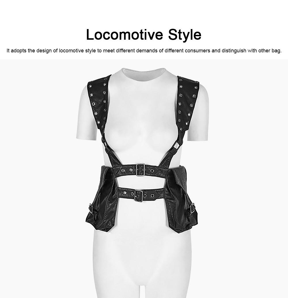 Square Shape Waist Strap Adjustable Belt Backpack, Locomotive Style Bag for Women, PU Leather Waistcoat Halloween Gift 1