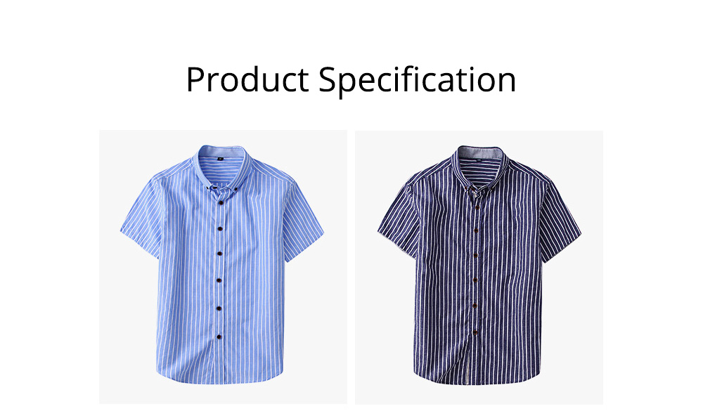 Short-Sleeve Stripe Shirt Men Casual Button Down Cotton Loose Shirts Quick-drying T-shirts Gifts for Men 8