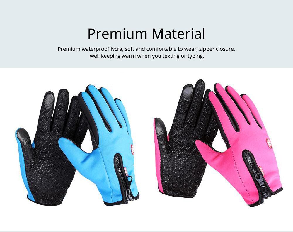 Winter Gloves PU Warm Waterproof Anti-skid Touchscreen Zipper Gloves for Running Hiking Climbing Skiing for Men Women 3