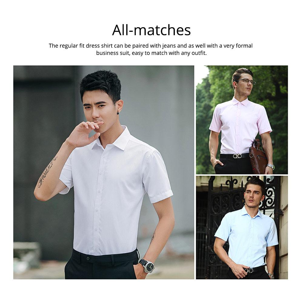 Men's Short Sleeve Shirts with Regular Fit Formal Business Cotton Solid Shirt Classic Slim Fit Flex Collar Dress Shirt 5