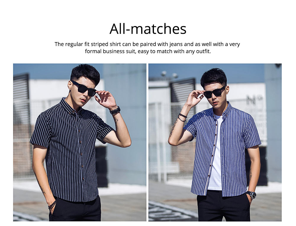Short-Sleeve Stripe Shirt Men Casual Button Down Cotton Loose Shirts Quick-drying T-shirts Gifts for Men 5