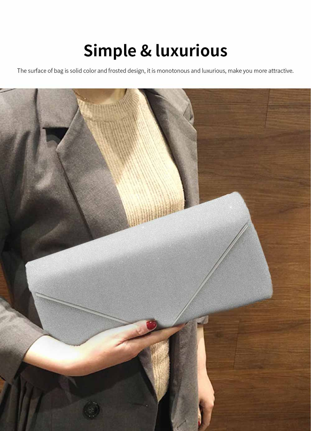 Evening Bag Lining Clothe Material Elegant Clutch for Dinner Women Shiny Envelope-bag Good-looking Handbag 5
