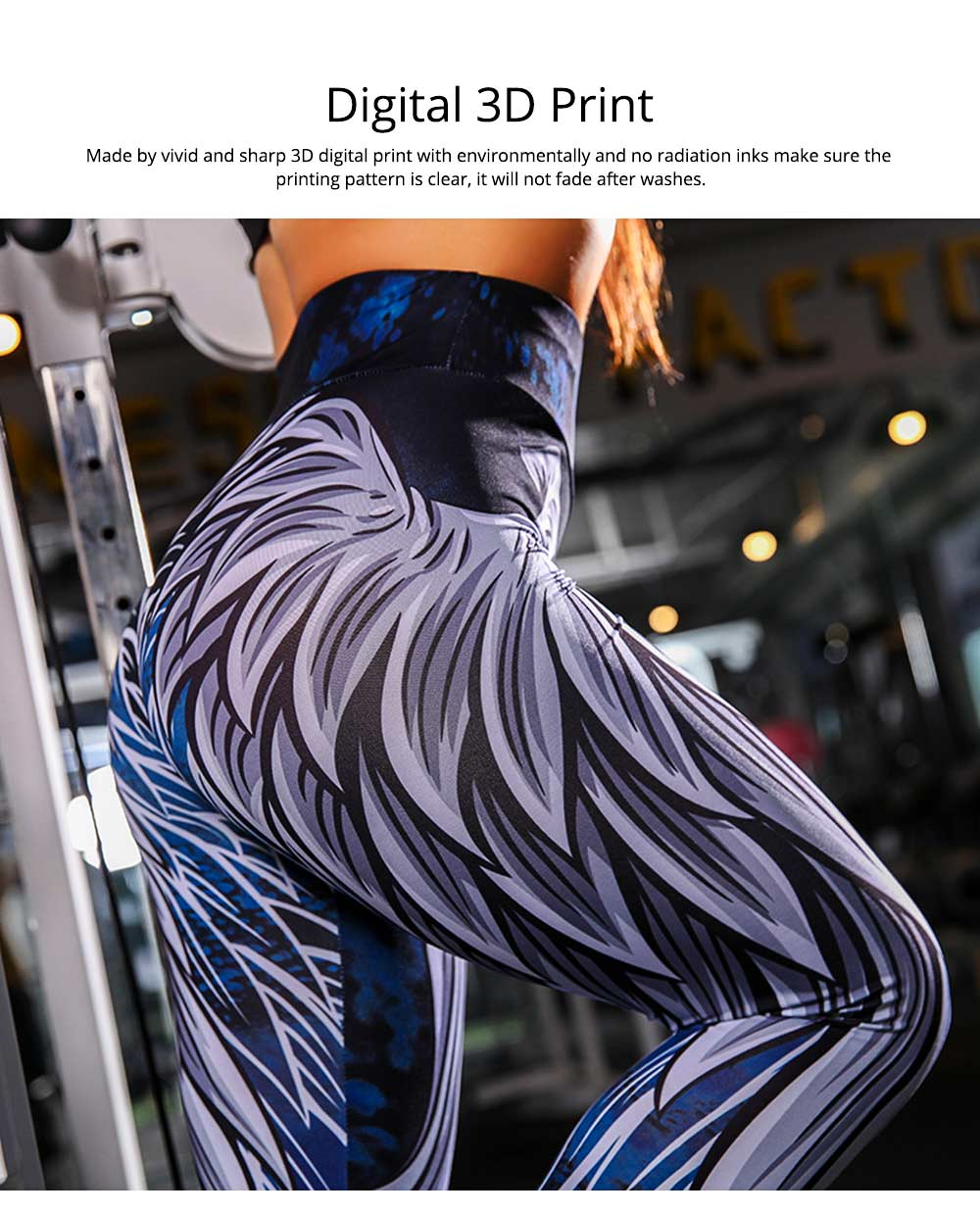 High Waist Yoga Pants Tummy Control Workout Leggings Digital 3D Wing Print Cropped Leggings for Women 1