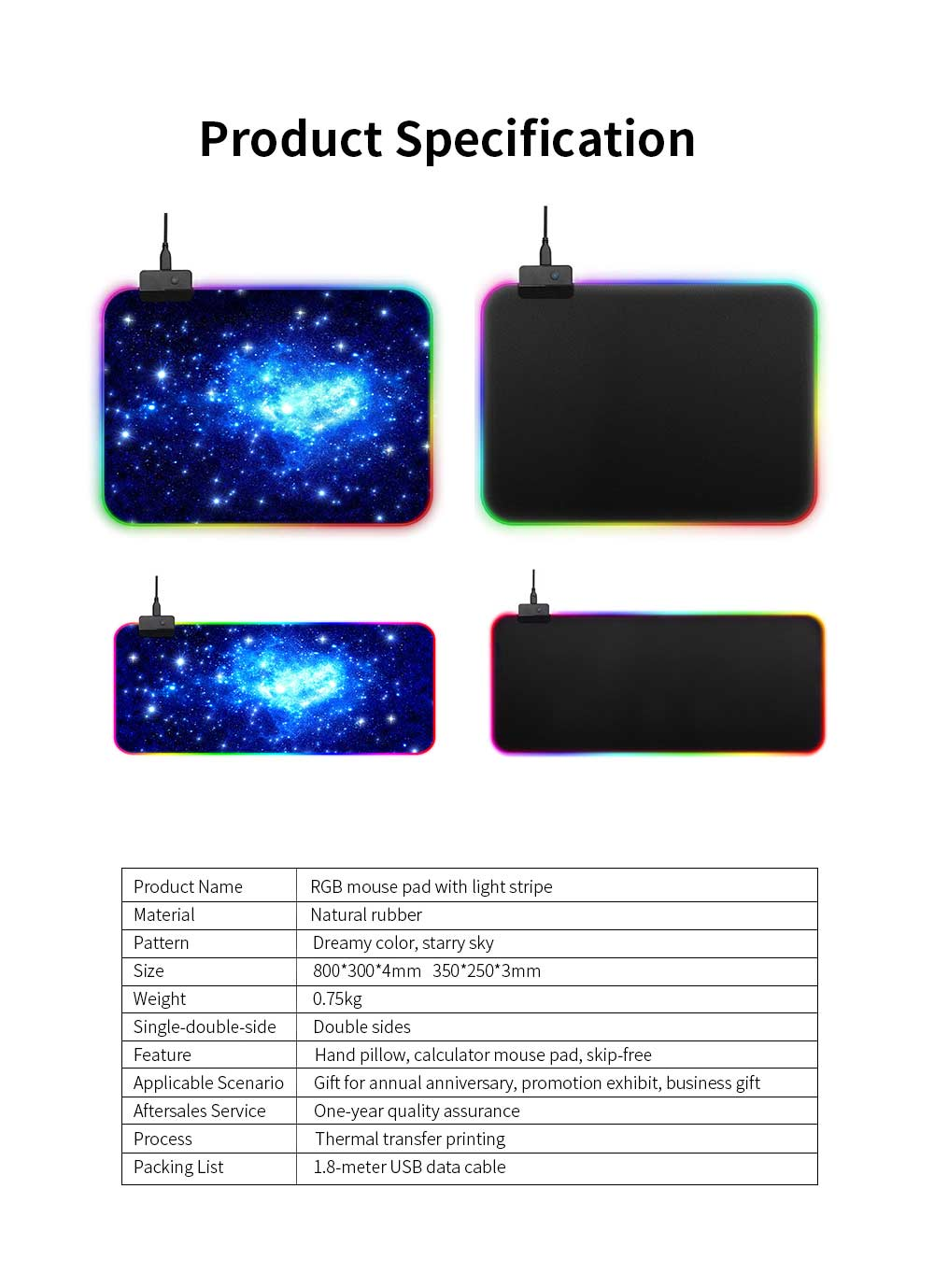 RGB Mouse Pad with Light Stripe Fine Textured and Thickened Skip-free Rubber Reverse Side Mouse Mat Computer Accessory Mousepad 7