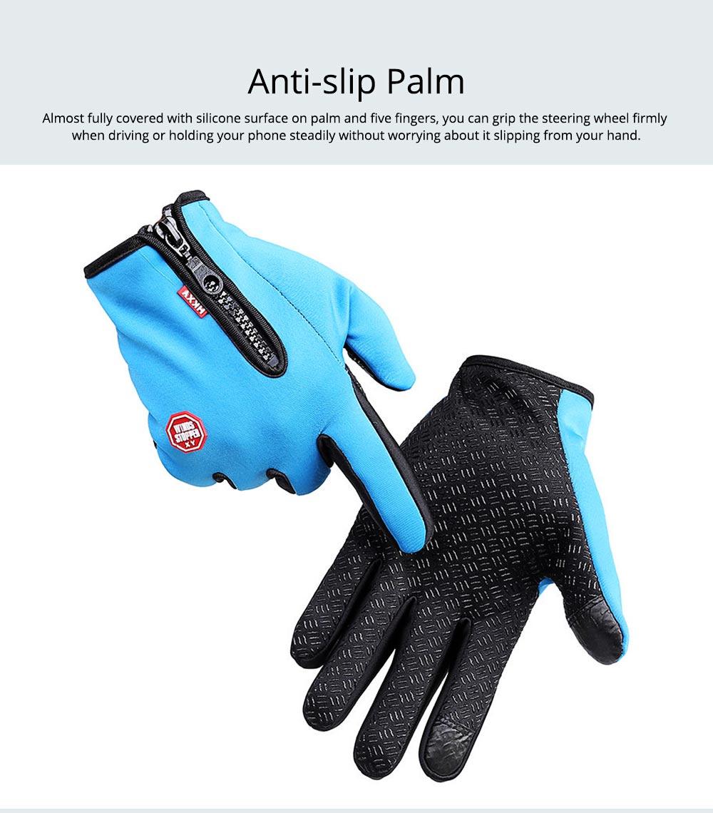 Winter Gloves PU Warm Waterproof Anti-skid Touchscreen Zipper Gloves for Running Hiking Climbing Skiing for Men Women 4
