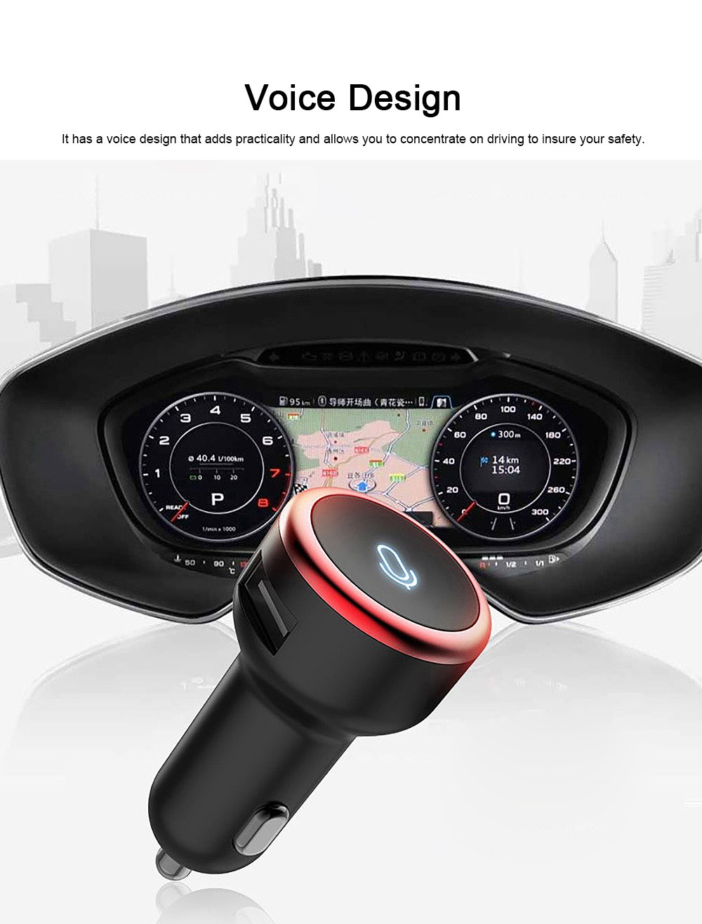 Vehicular Audio System for Motorist, Eight Technologies Ultra-high Tone Quality Car Charger Interactive A Key to Answer Intelligent MP3 5