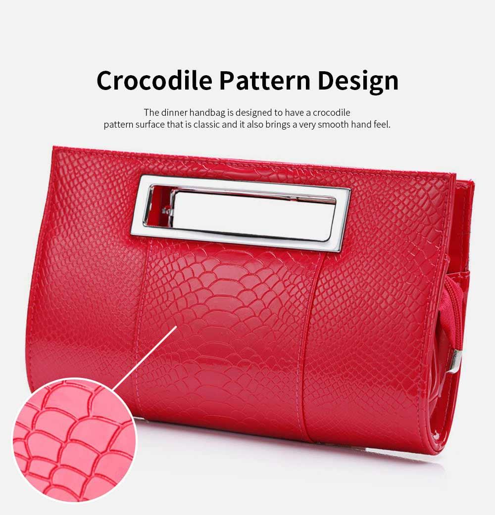 Women Evening Bag Casual PU Leather Dinner Bag with Removable Handle Zipper Pocket Durable Wear Resistant Concealed Pocket Crocodile Pattern Handbag 4