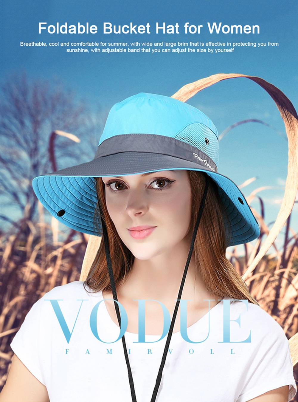 Foldable Bucket Hat for Women, Sunbonnet Sun Hat for Summer, Wind-proof Sun-proof for Outdoor Activities 0